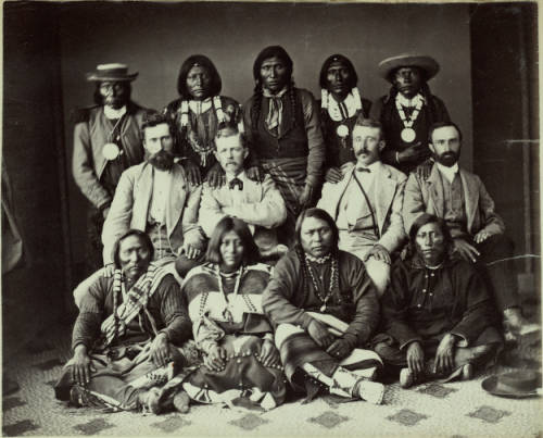 Delegation of Utes at the Brunot Treaty meeting in Washington D.C. Chipeta is second from the left in the bottom row (credit: Denver Public Library)