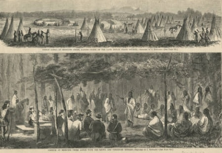 Illustrations from Harper's Weekly of the Council at Medicine Creek(credit: Denver Public Library)
