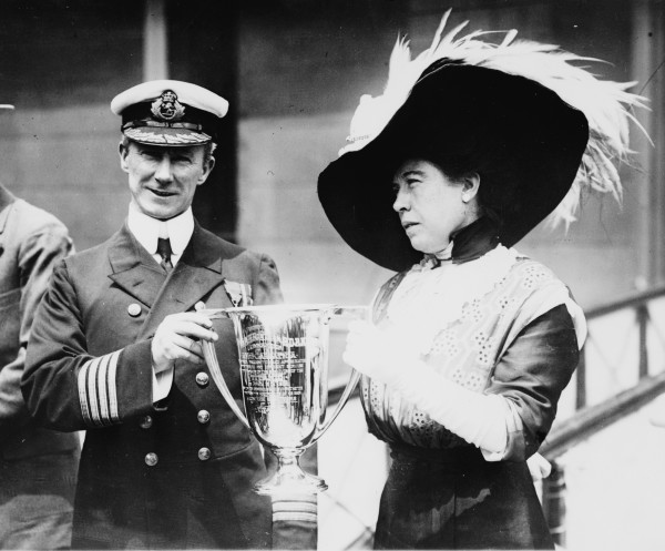 Mrs. Brown presenting Captain Rostard with a cup commemorating his rescue of the Titanic survivors(credit: Library of Congress)