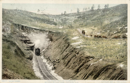 Atchison, Topeka and Santa Fe train leaving Raton Tunnel circa 1908(Credit: Denver Public Library)