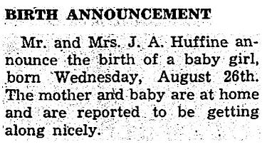 Birth announcement, Aspen Daily Times, Sept. 10, 1942