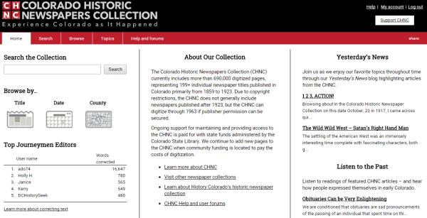 CHNC main page