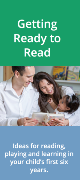 Cover of Getting Ready to Read brochure, with picture of parents reading to a small child
