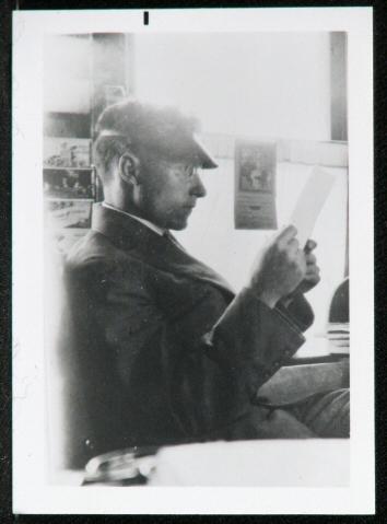 Clyde L. Stanley in his print shop in Erie, Colorado. Courtesy History Colorado, R.138.2008.261