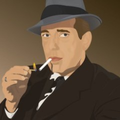 color illustration of Humphrey Bogart as Philip Marlowe in fedora lighting a cigarette
