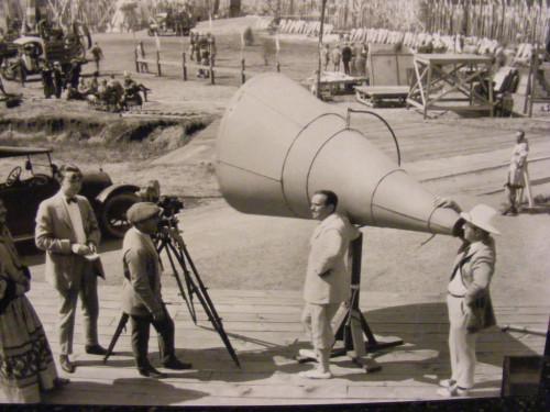 Old movie set image of megaphone