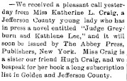 newspaper clipping about Judge Greyburn and Kathlene Lee