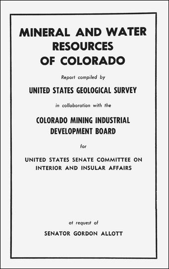 "Time Machine Tuesday: ""Mineral and Water Resources of Colorado,"" 1968"