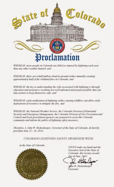Colorado Lightning Safety Awareness Week